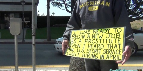 Homeless Man pokes fun at Obama 'Creating Jobs'