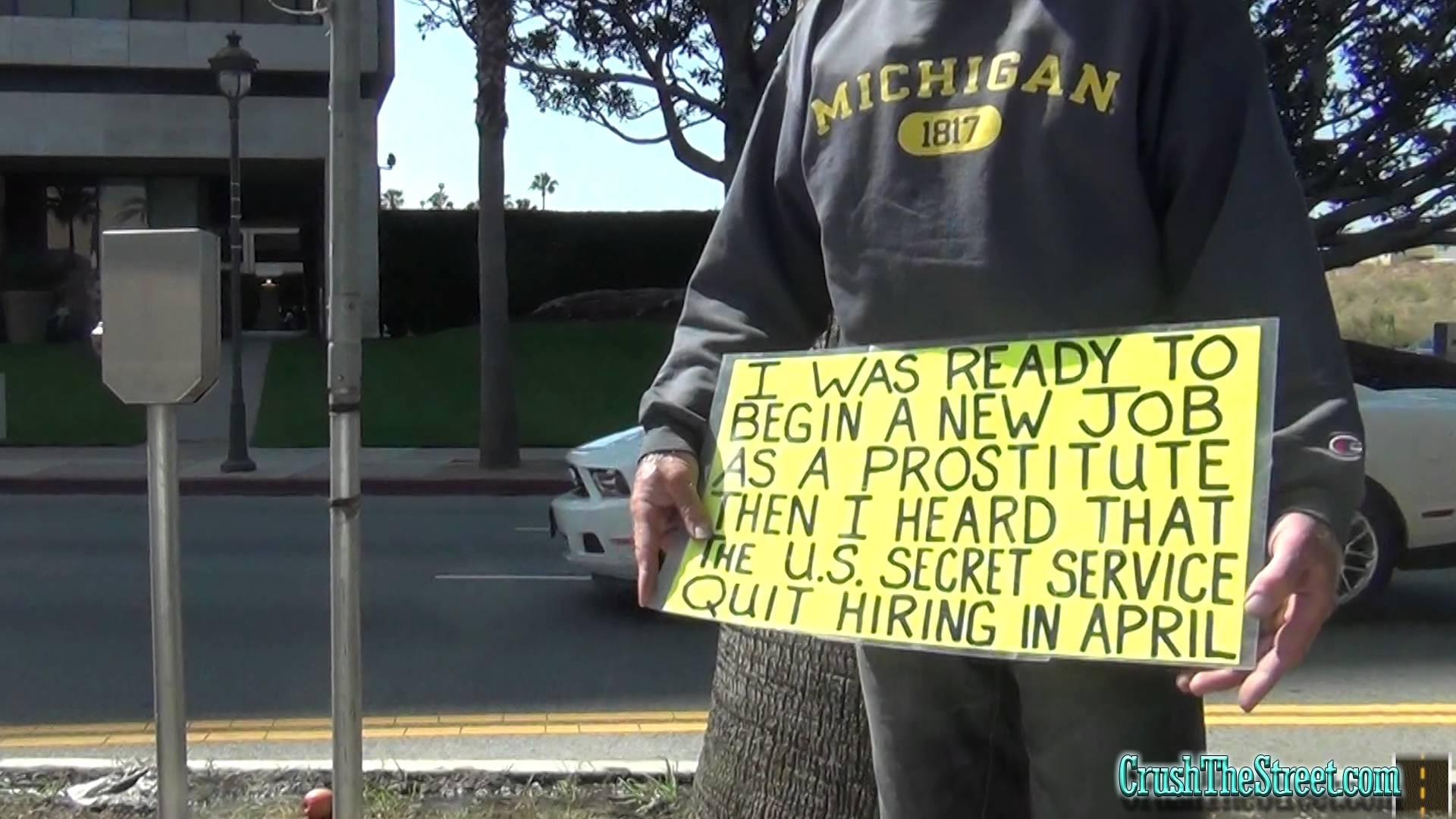 Homeless Man pokes fun at Obama 'Creating Jobs'