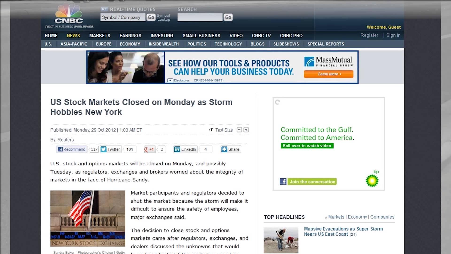 News Alert Oct 28 2012 – Stock Market Closed Monday Oct 29