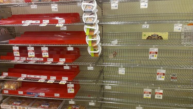 food retailers, empty shelves