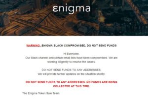 Enigma ICO Drama! Scammer Manages to Steal $400,000 Using Fake Email!
