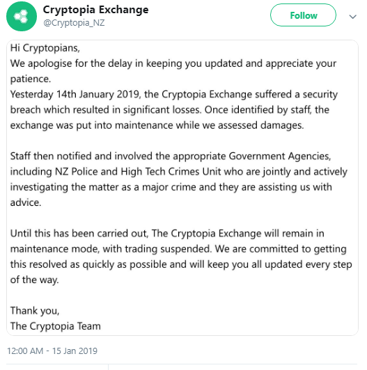 Cryptopia Exchange HACKED and OFFLINE! Yet Another Reminder of Why Being Your Own Bank is Best!