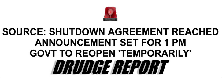 Drudge Government Shutdown Deal Headline January 25, 2019