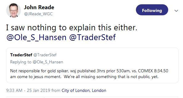 John Reade on Twitter on Gold Silver Spike not WSJ Article