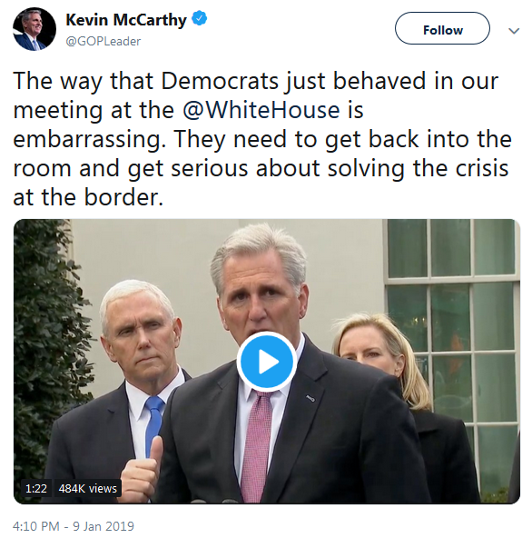 GOP Leader Kevin McCarthy Twitter on Government Shutdown Negotiations Jan. 9, 2019