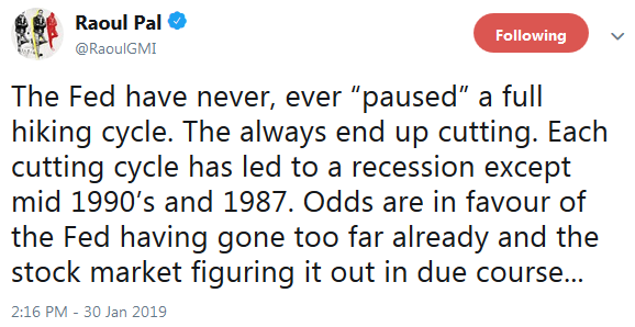 Raoul Paul on Twitter on Fed Pause Cave In