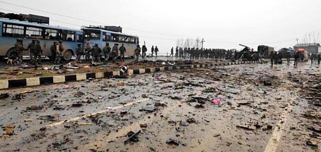 Kashmir Pulwama Terror Attack Debris