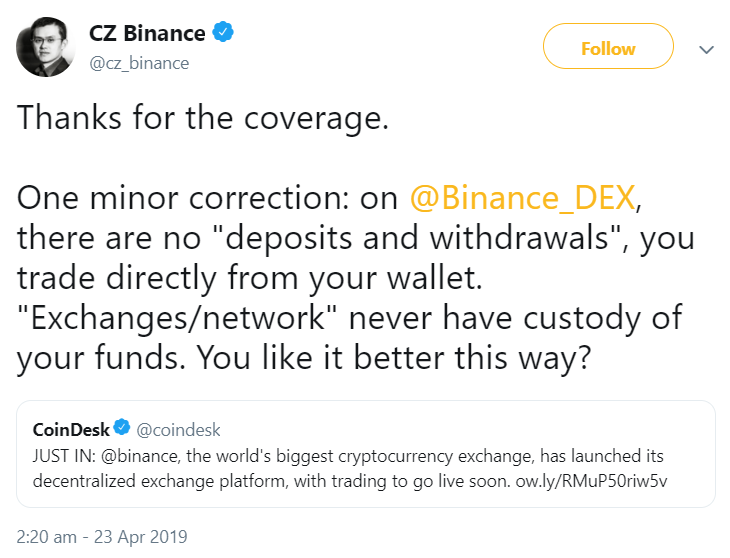 ALL SYSTEMS GO! Binance Launches Decentralized Exchange AND Binance Coin (BNB) on New Blockchain Mainnet2