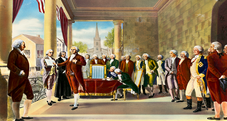 Oil Painting Rendition of President Washington's Inaugurationat Federal hall by Ramon de Elorriaga