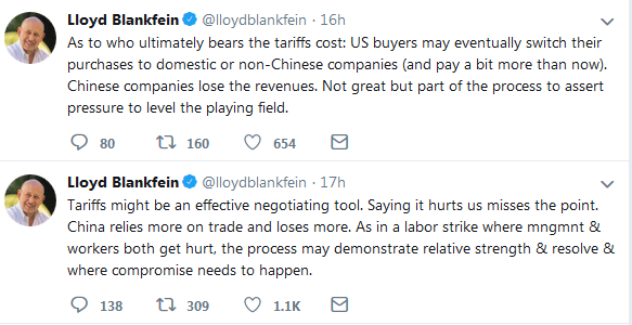 Lolyd Blankfein Twitter on Tarrifs