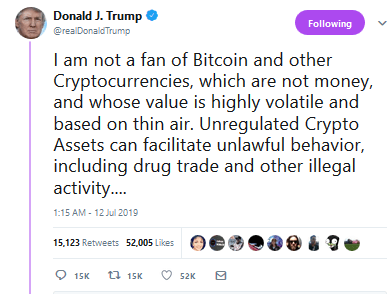 """BITCOIN IS NOT MONEY"" – President Trump Weighs in on Bitcoin, Facebook's Libra, and ALL Other Cryptocurrencies… BUY THE BAD NEWS?"