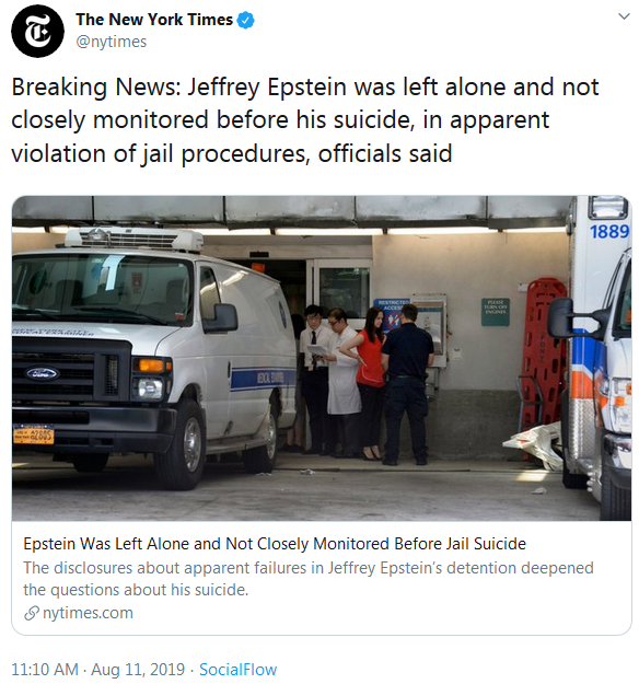 Epstein Left Alone Before Suicide via New York Times