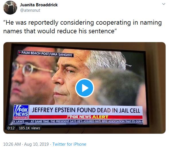 Juanita Broaddrick Twiiter - Epstein Naming Names on Fox News