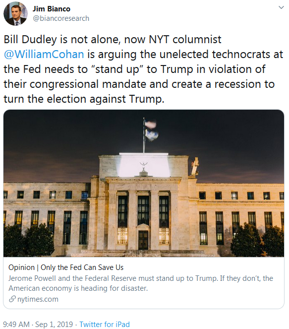 Jim Bianco on Twitter Bill Dudley is not alone, now NYT arguing recession to turn 2020 Electionb
