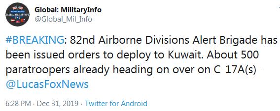 82nd Airborne Alert Brigade Deployed to Kuwait
