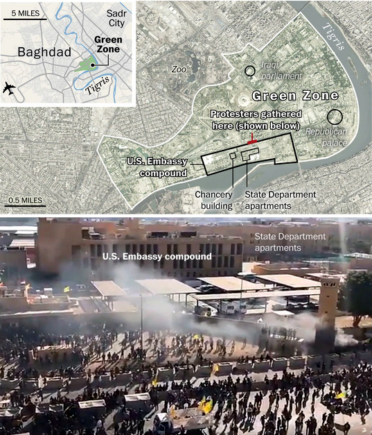 Map of US Embassy in Green Zone and Photo of Attack