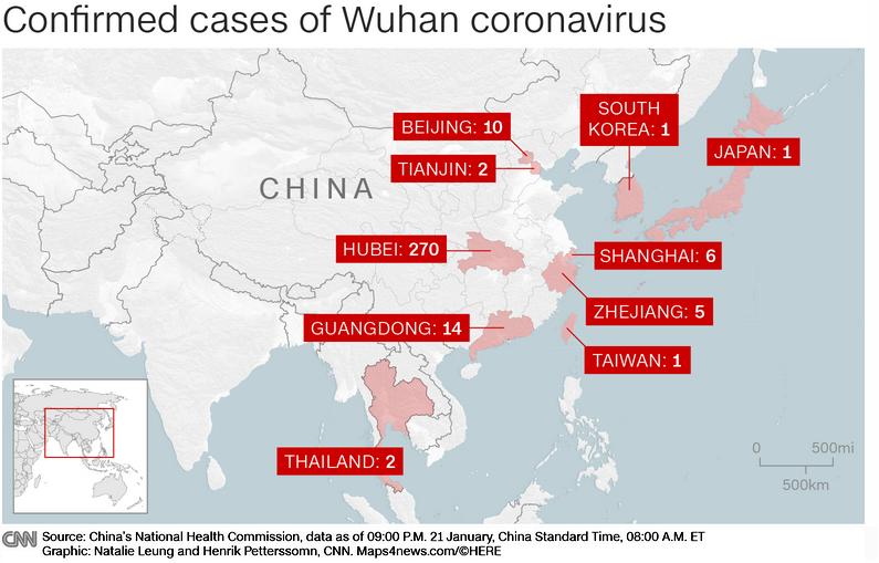 Confirmed Coronovirus Cases in Asia-Pacific Region