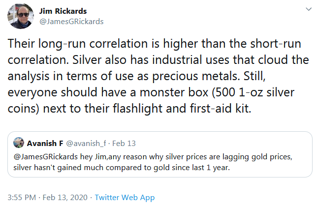 Jim Ricards on Twitter for Silver