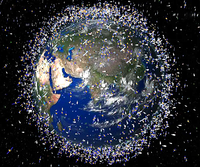Space Junk and Satellites Circling The Earth