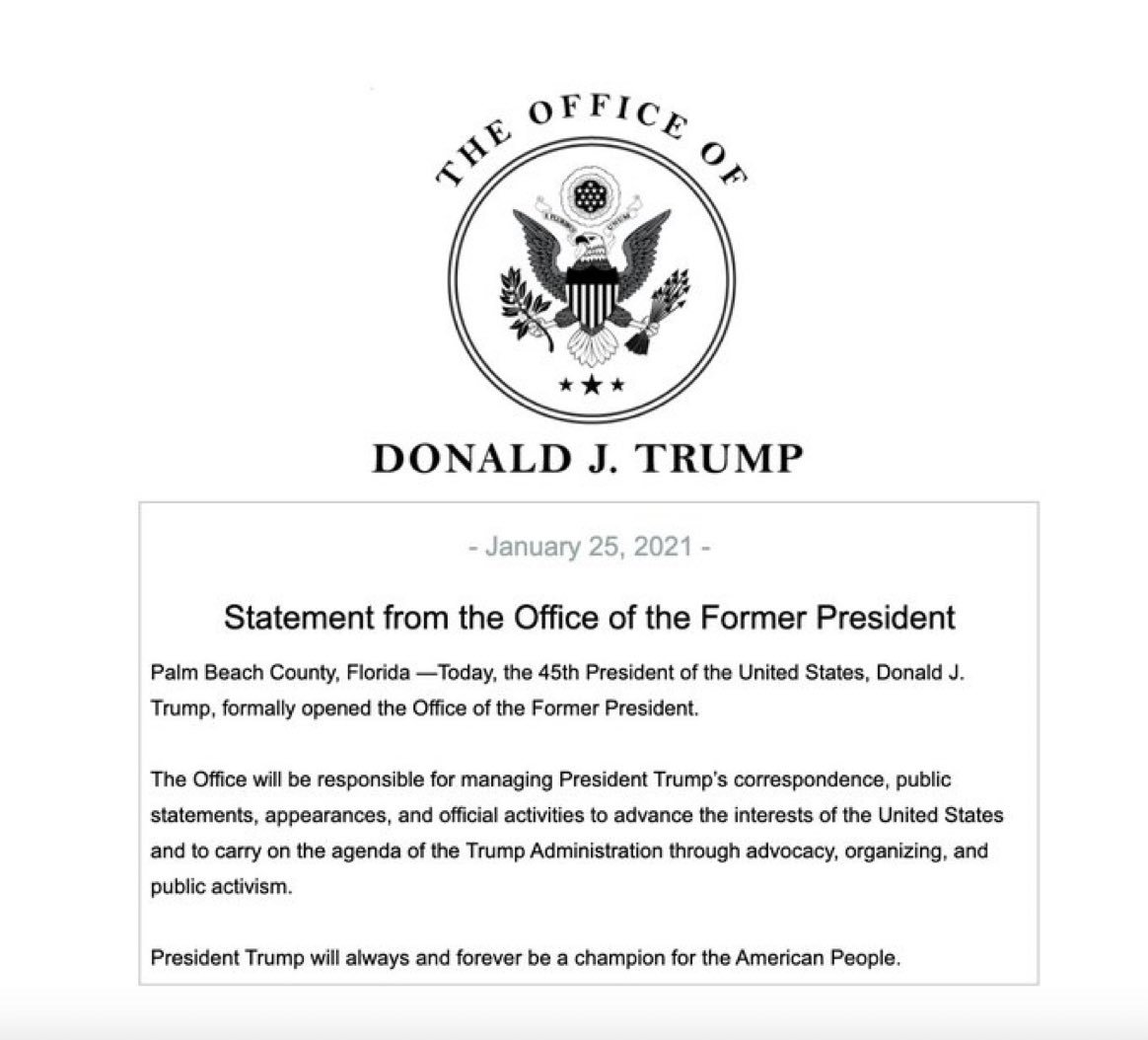 Statement from the Office of the Former President - Jan. 25, 2021