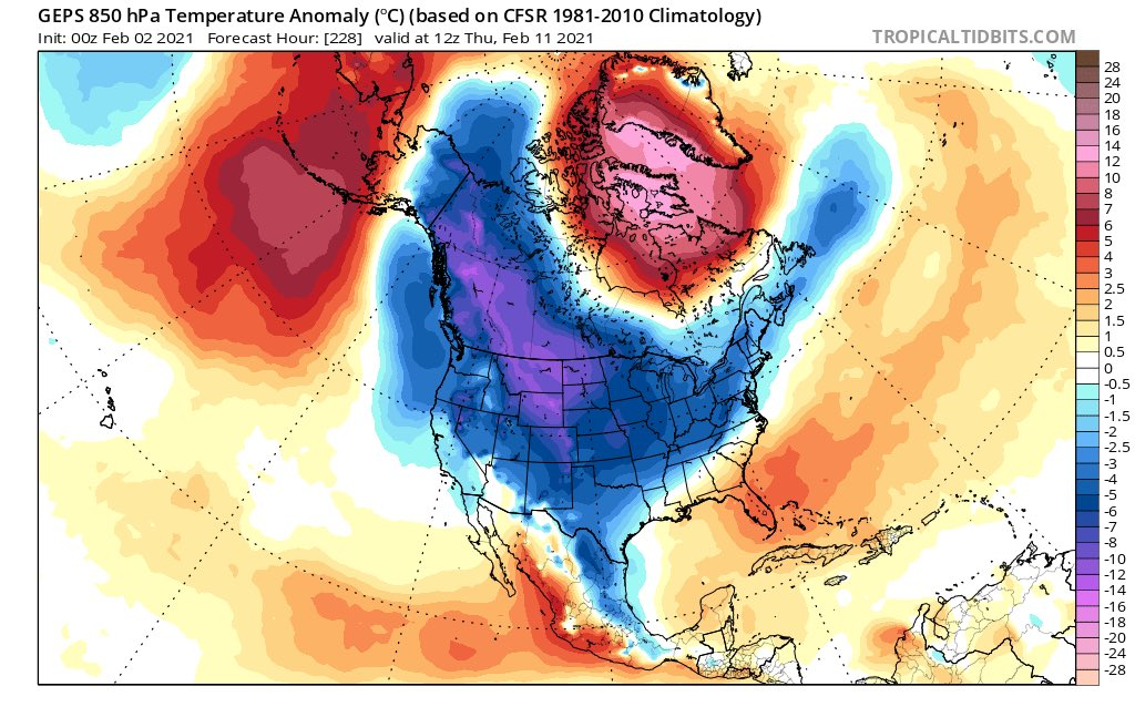 Map of U.S. Jet Stream Dips Into Midwest With Polar Vortex Feb. 2021