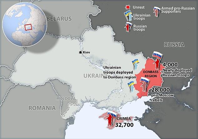 Ukraine Russia Conflict Map as of April 2021