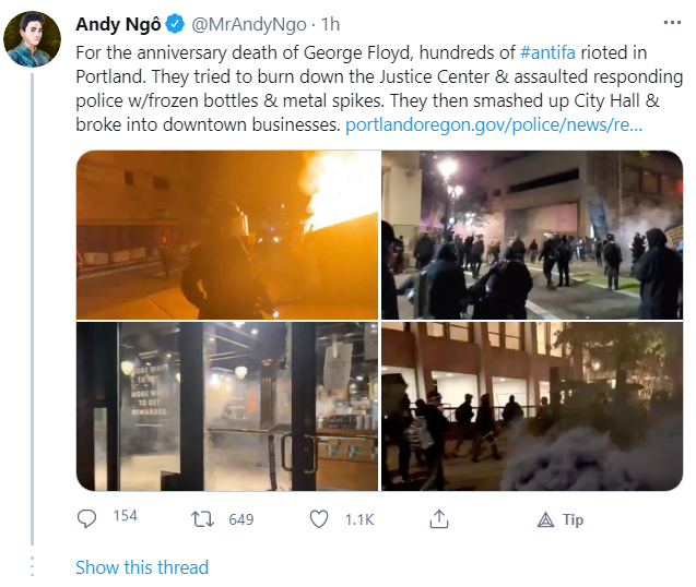 Andy Ngo Twittter Thread Antifa BLM Ongoing Violence