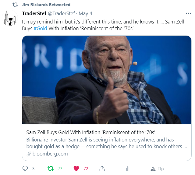 Sam Zell on Inflation vs. Gold fwd by Rickards