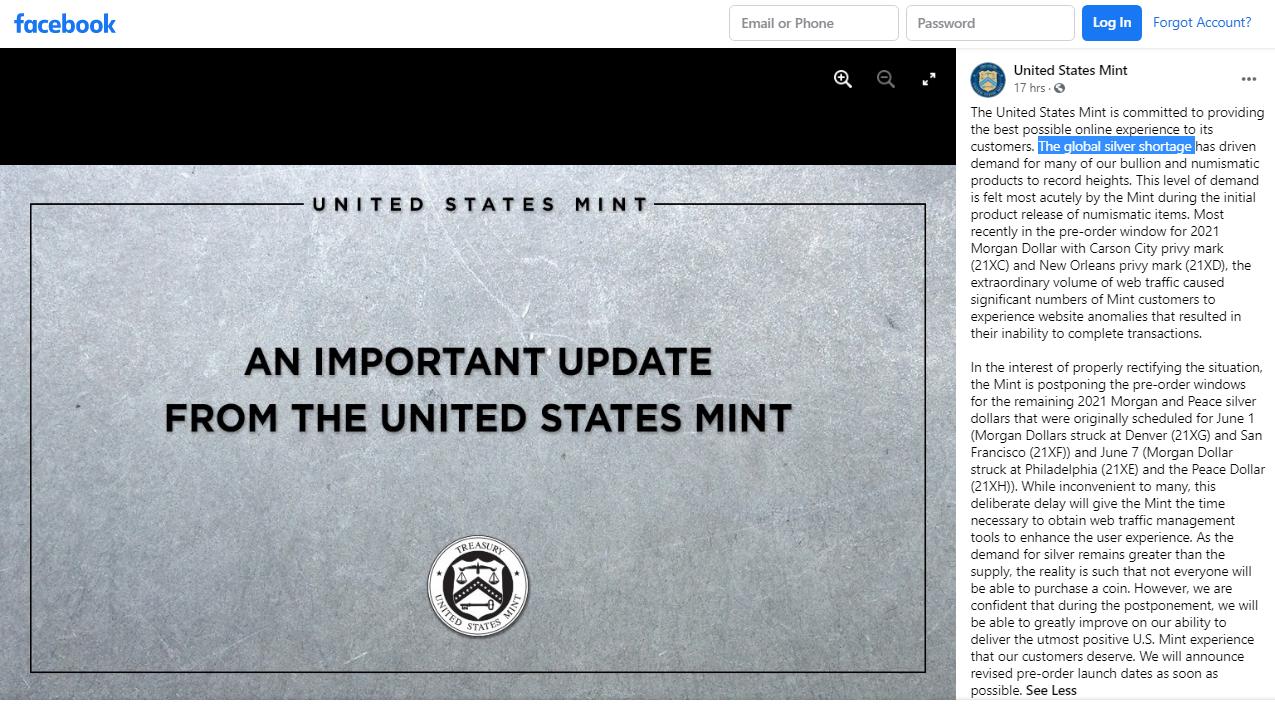 U.S. Mint on Facebook - Silver Shortage Notice May 27, 2021