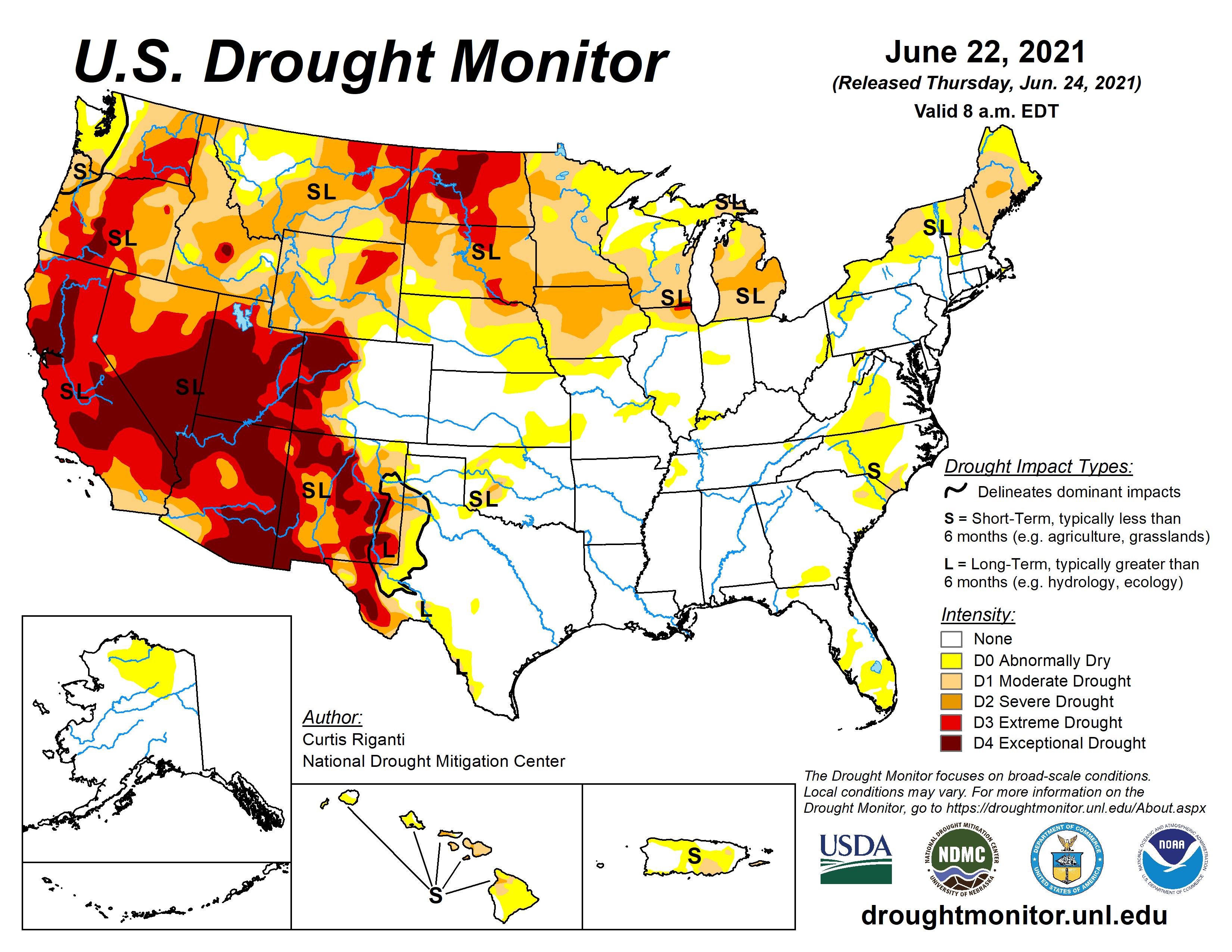 U.S. Drought Map as of Jun. 22, 2021