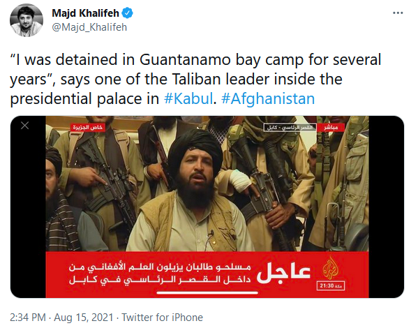 Guantanamo Bay prisoner, now a Taliban leader iinside Afganistans presidential palace