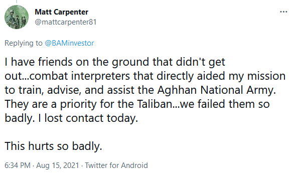 Matt Carpenter on Twitter - Veteran Lost Contact With Former Afghan Collaborators