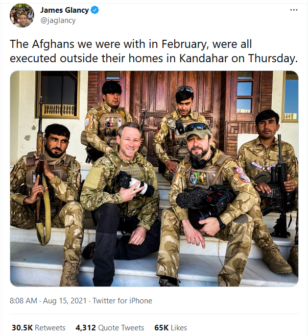 The Afghans we were with in February, all executed outside their homes in Kandahar on Thursday - James Glancy