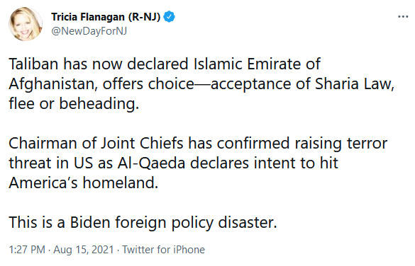 Tricia Flanagan Twitter on Terror Threat to U.S. with Taliban Controlling Afghanistan