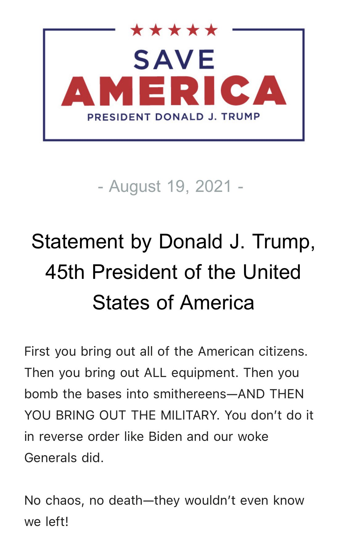 Trump Statement on Afghanistan Withdraw Aug. 19, 2021