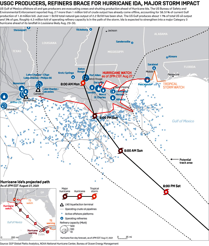 USGC Producer and Refiner Evacuations and Shutdowns - Aug. 29, 2021 Map